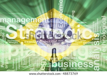 Flag of Brazil, national country symbol illustration wavy business strategic planning