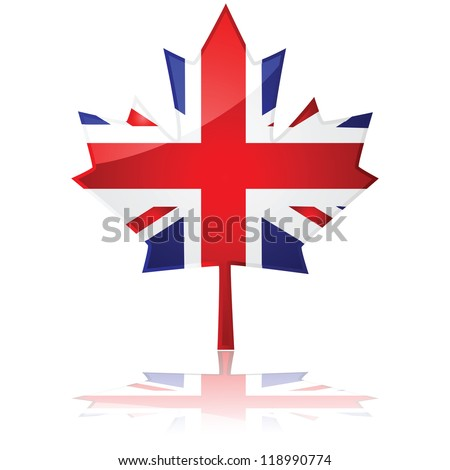 Flag of Britain shaped like Canada's maple leaf, symbolizing the friendship between the two countries
