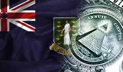 Flag of British Virgin Islands on a fabric with an American dollar close-up.