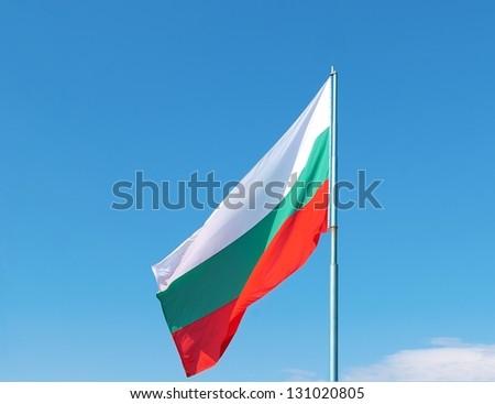 Flag of Bulgaria against blue sky
