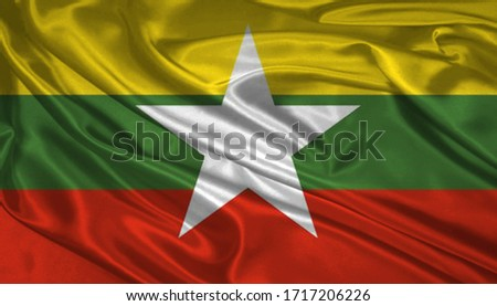 Flag of Burma Myanmar 3D Illustration. Burma Myanmar Flag for Independence Day, celebration, election. The symbol of the state on wavy silk fabric. Сток-фото ©