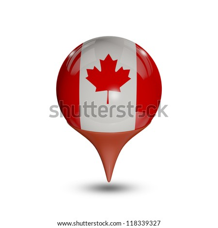 Flag of Canada pin isolated on white.