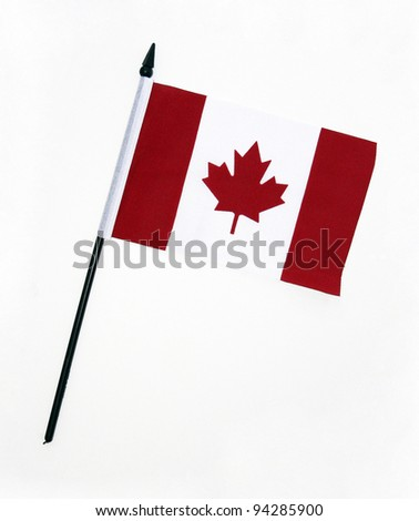 Flag of Canada with flag pole over white background