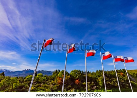 Flag of Chile in sky #792907606