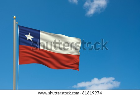 Flag of Chile with flag pole waving in the wind on front of blue sky
