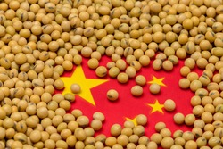 Flag of China covered in soybeans. Concept of Chinese agricultural imports, exports, trade, trade war, tariffs, production and commodity markets