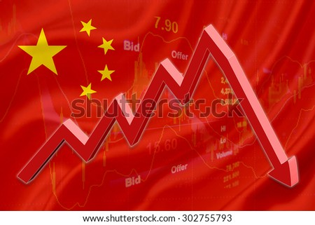 Flag of China with a chart of financial instruments for stock market analysis and a red downtrend arrow indicates the stock market enter recession period.
