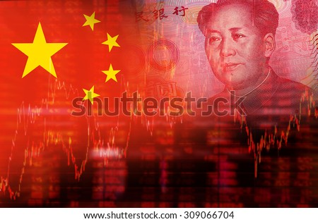 Flag of China with face of Mao Zedong on RMB (Yuan) 100 bill. Downtrend stock diagram #309066704