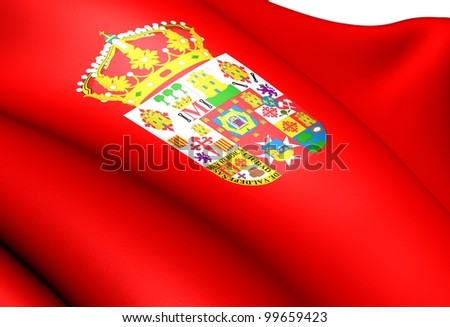 Flag of Ciudad Real province, Spain. Close up. - stock photo