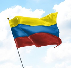 Flag of Colombia Raised Up in The Sky