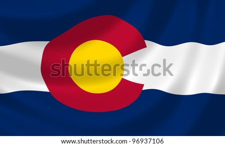 Flag of Colorado state waving in the wind detail - stock photo