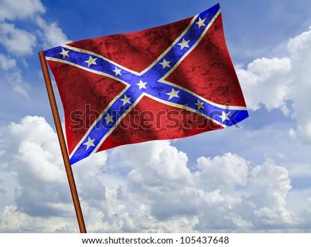 Flag of Confederate waving against blue sky, Rebel flag, Dixie flag