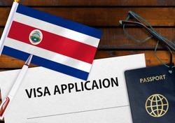 Flag of Costa Rica , application form and passport on table