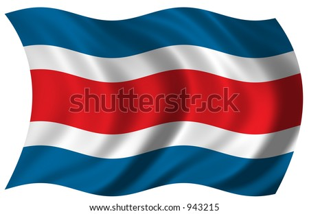 Flag of Costa Rica waving in the wind - including clipping path