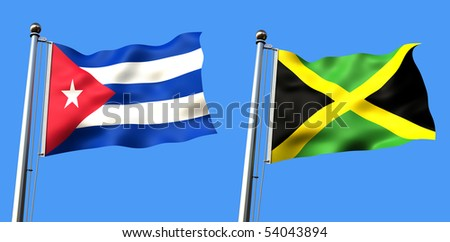 flag of cuba and jamaica isolated on blue background - rendering - stock photo
