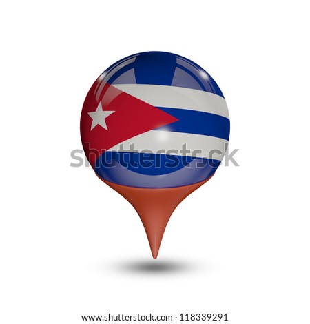 Flag of Cuba pin isolated on white.