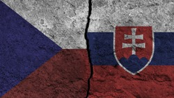 flag of czech republic and slovakia painted on wall divided with crack , Czech republic vs slovakia , conflict relations , war concept