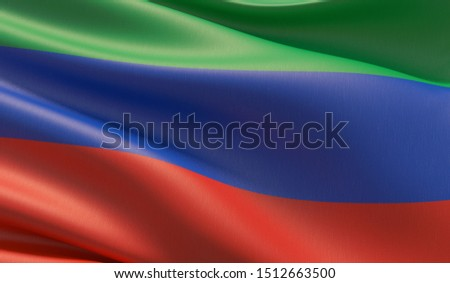Flag of Dagestan, High resolution close-up 3D illustration. Flags of the federal subjects of Russia.