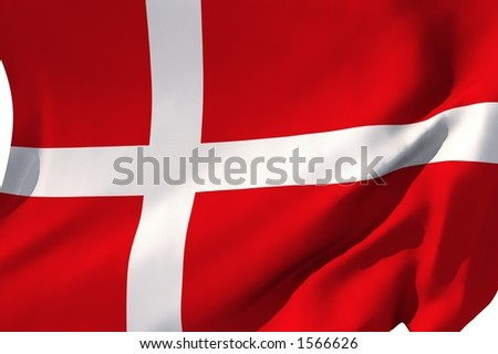 Flag of Denmark in the wind. - stock photo