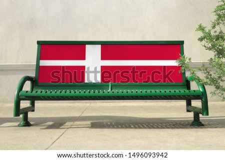 Flag of Denmark on bench. Denmark Flag on bench advertisement #1496093942