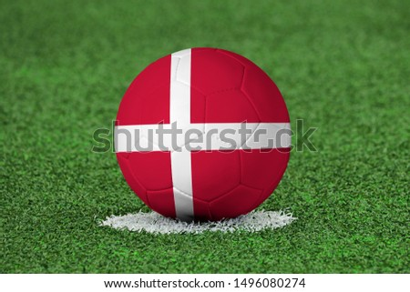 Flag of Denmark on Football Denmark Flag on soccer ball #1496080274