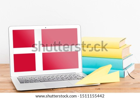 Flag of Denmark on Laptop. Denmark Flag on Screen. #1511155442
