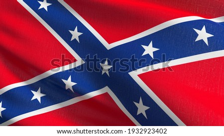 Flag of Dixieland or Confederate States Army in USA or The United States of America. 3D rendering illustration of waving sign symbol. Foto stock ©