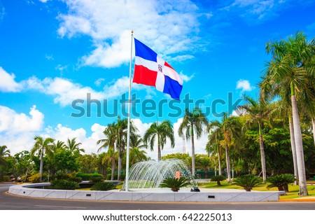 Flag of Dominican Republic, Punta Cana Foto stock ©