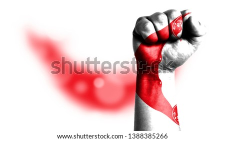 Flag of Easter Island Rapa Nui painted on male fist, strength,power,concept of conflict. On a blurred background with a good place for your text.