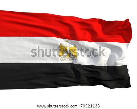Flag of Egypt, fluttered in the wind. Sewn from pieces of cloth, a very realistic detailed flags waving in the wind, with the texture of the material, isolated on a white background