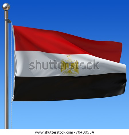Flag of Egypt with flag pole waving in the wind against blue sky. 3d illustration.
