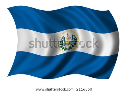 Flag of El Salvador waving in the wind - clipping path included