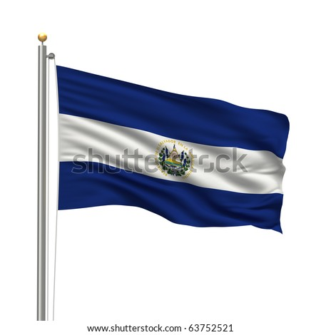 Flag of El Salvador with flag pole waving in the wind over white background