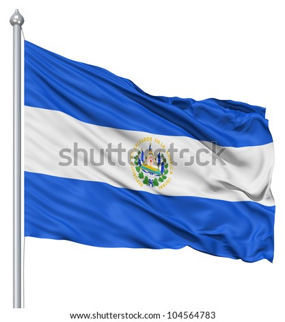 Flag of El Salvador with flagpole waving in the wind against white background