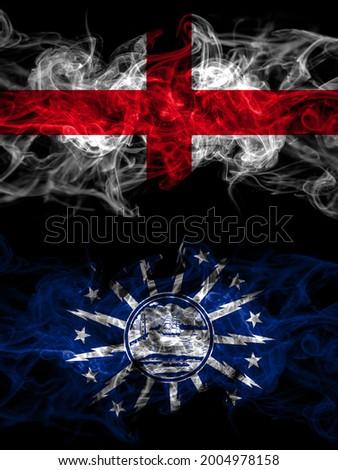 Flag of England, English and United States of America, America, US, USA, American, Buffalo, New York countries with smoky effect  Photo stock ©