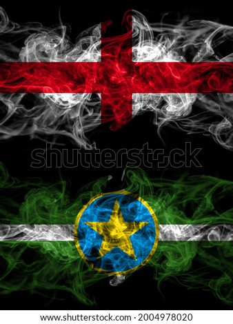 Flag of England, English and United States of America, America, US, USA, American, Jackson, Mississippi countries with smoky effect  Photo stock ©