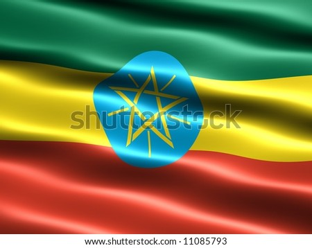 Flag of Ethiopia, computer generated illustration with silky appearance and waves