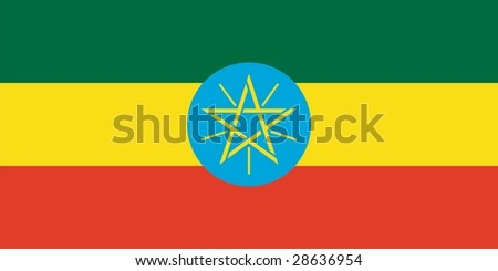 Flag of Ethiopia. Illustration over white background