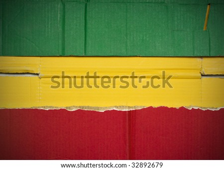 Flag of Ethiopia  made with corrugated cardboard