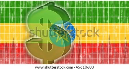 Flag of Ethiopia, national country symbol illustration finance economy dollar - stock photo
