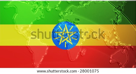Flag of Ethiopia, national country symbol illustration with world map, metallic embossed look
