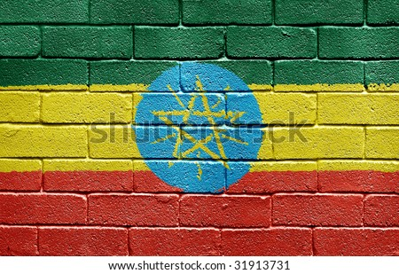 Flag of Ethiopia painted onto a grunge brick wall