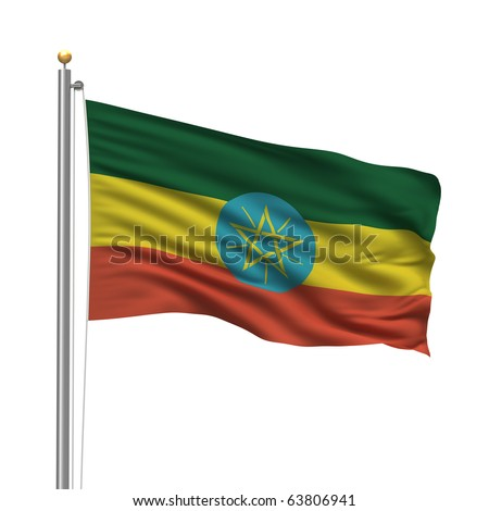 Flag of Ethiopia with flag pole waving in the wind over white background - stock photo