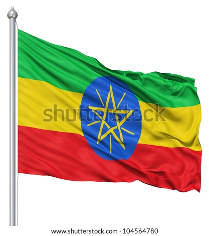 Flag of Ethiopia with flagpole waving in the wind against white background