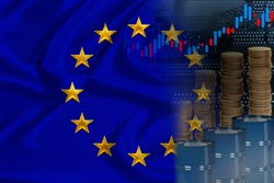flag of eu on silk, barrels of oil, metal coins, oil futures trading concept, growth of DBO index on stock exchange, global world trade, falling and rises oil prices