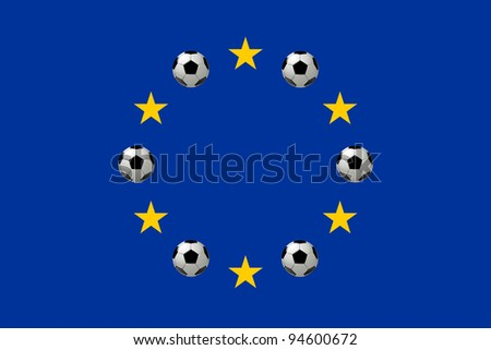 Flag of Europe with soccer balls or footballs, Illustration