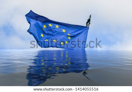 Flag of European Union in a flood with reflection - conceptual for breakup of the trading bloc and euroscepticism and populism- digital manipulation #1414055516