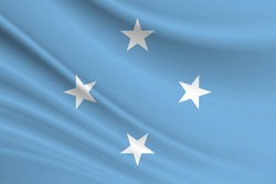 Flag of Federated States of Micronesia. Fabric texture of the flag of Federated States of Micronesia.