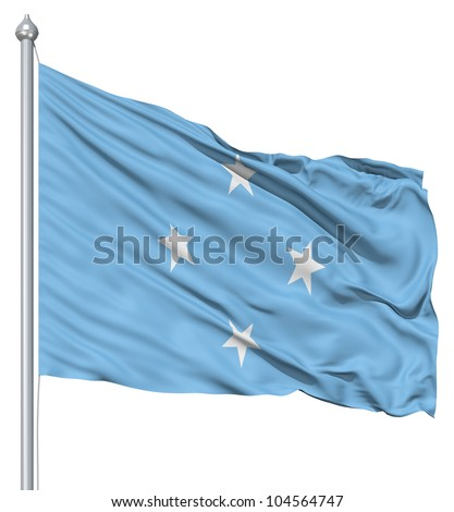 Flag of Federated States with flagpole waving in the wind against white background