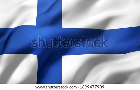 Flag of Finland blowing in the wind. Full page Finnish flying flag. 3D illustration. Stockfoto ©
